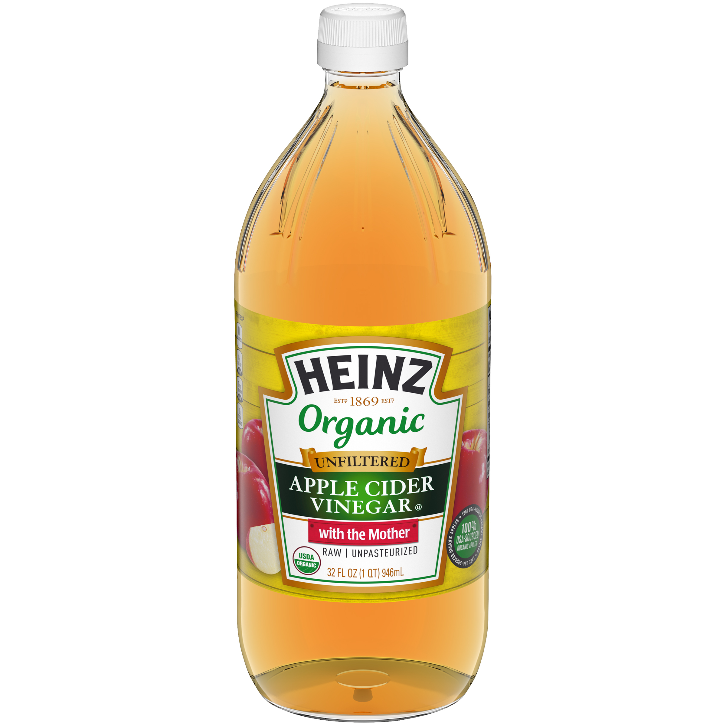 Heinz Organic Unfiltered Raw/Unpasteurized Apple Cider Vinegar 32 fl oz Bottle image
