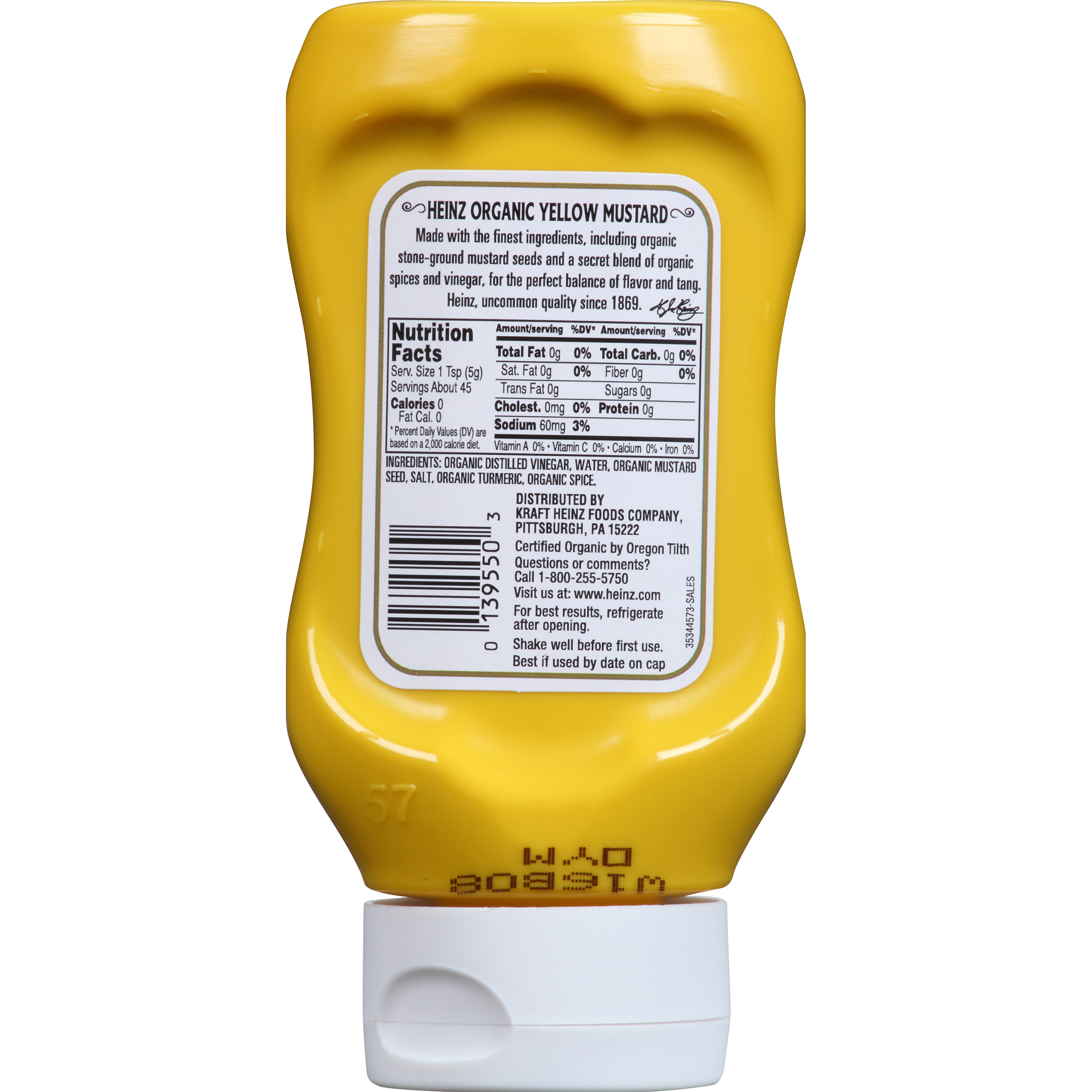 Heinz Organic Yellow Mustard 8 oz Bottle