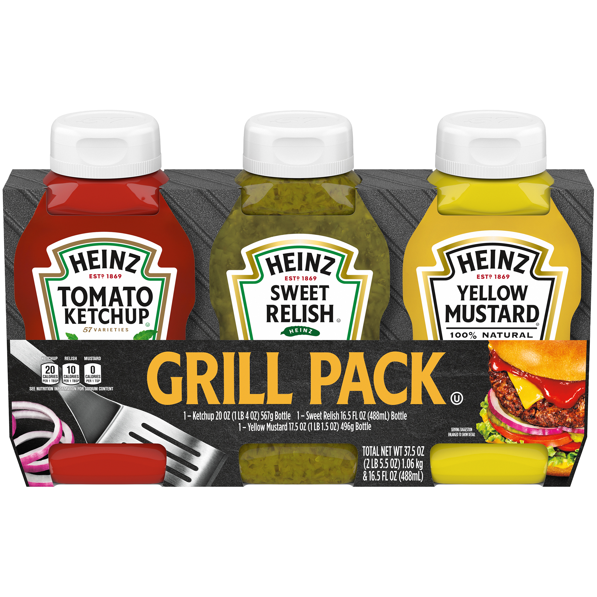 Heinz Tomato Ketchup/Sweet Relish/Yellow Mustard Picnic Pack 3 ct Bottles image