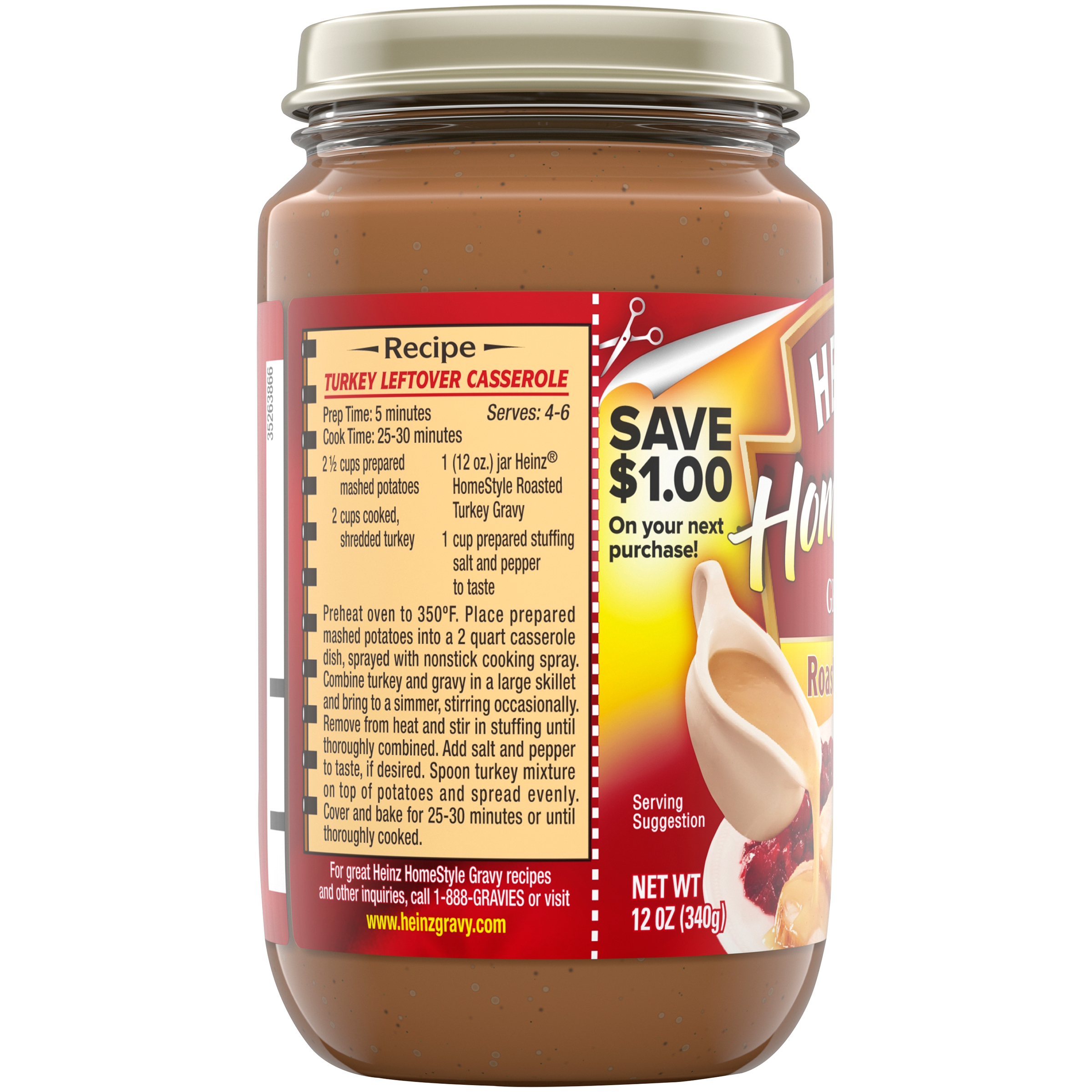 Heinz Home Style Roasted Turkey Gravy 12 oz Jar