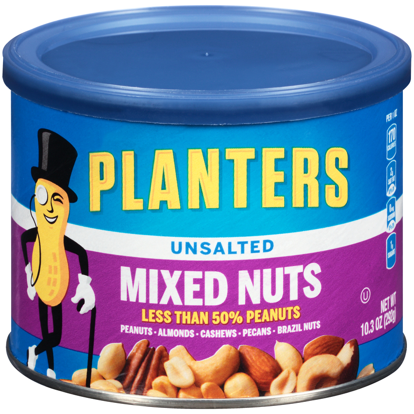 PLANTERS Unsalted Mixed Nuts 10.3 oz Can