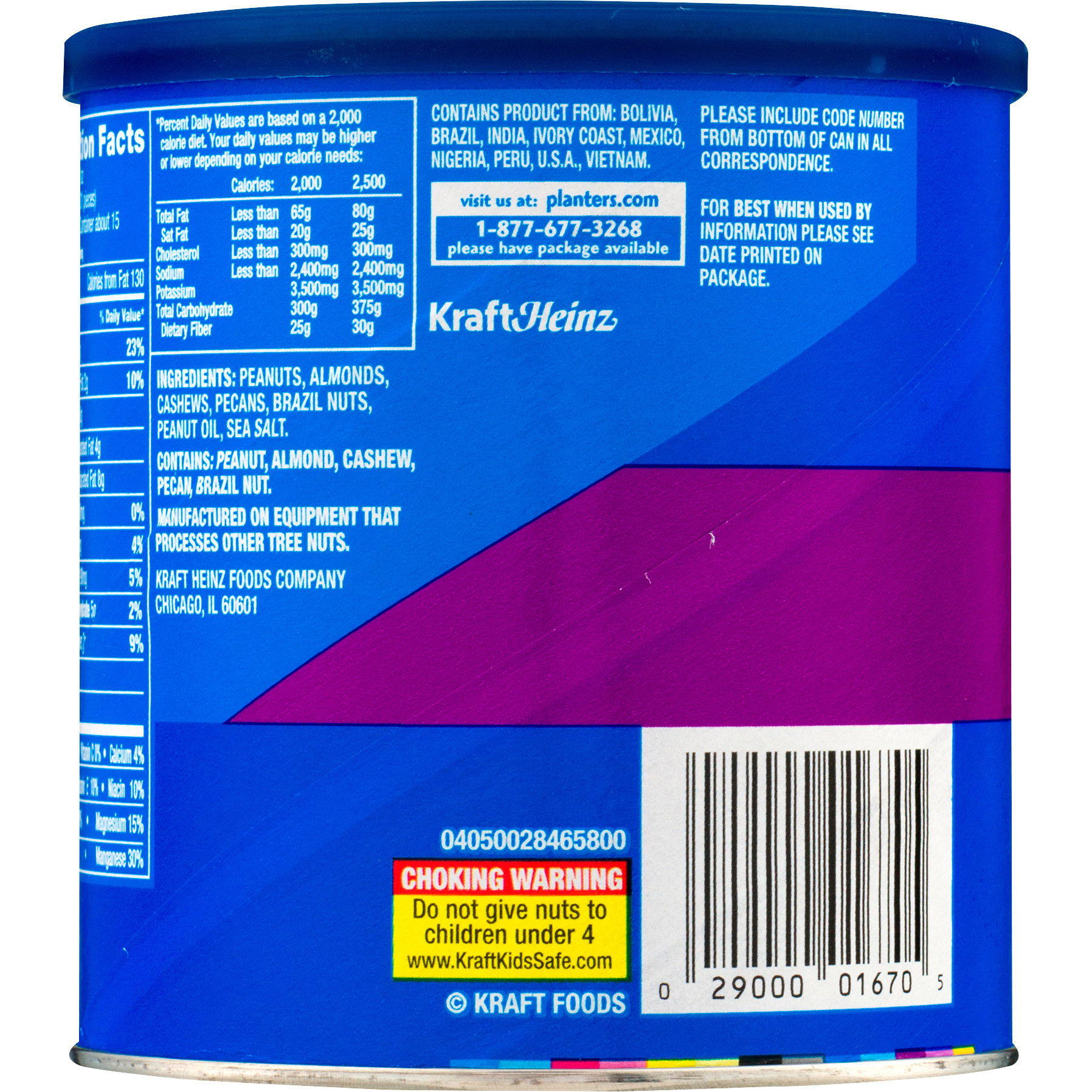 PLANTERS Mixed Nuts 15 oz Can | Planters on capri sun nutritional information, peanut m & m's nutritional information, coca-cola nutritional information,