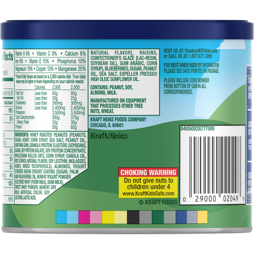 PLANTERS NUT-rition Protein Mix Blueberry Nut 10 oz Can | Planters on peanut m & m's nutritional information, coca-cola nutritional information, capri sun nutritional information,