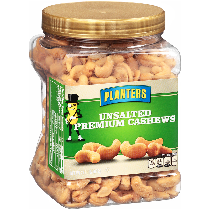 PLANTERS Unsalted Premium Cashews 33 oz Jar | Planters on planters mixed nuts tin, planters salted mixed nuts, planters mixed nuts ingredients, planters roasted mixed nuts,