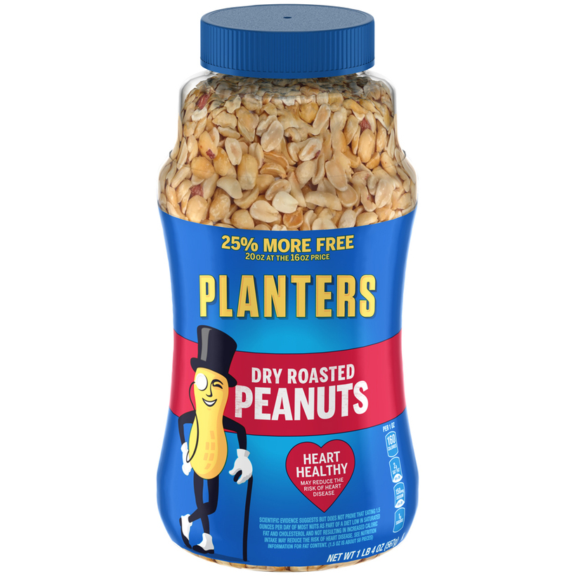 PLANTERS Dry Roasted Peanuts 25% More Free 20 oz Jar