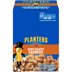 Planters Honey Roasted Cashews 18-1.5 oz Bags