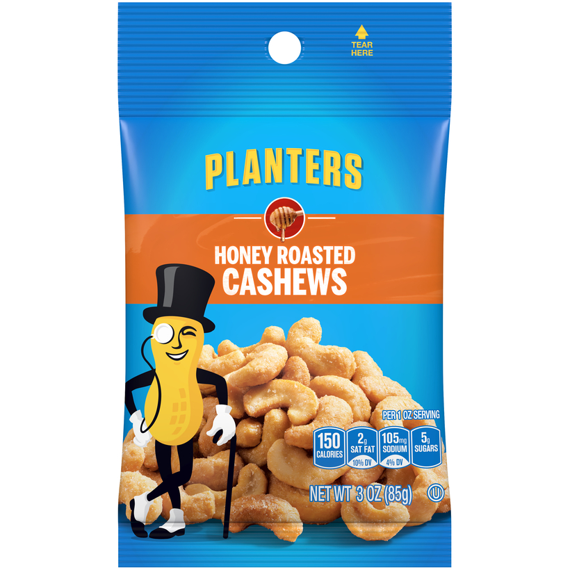 PLANTERS Honey Roasted Cashews 3 oz Bag