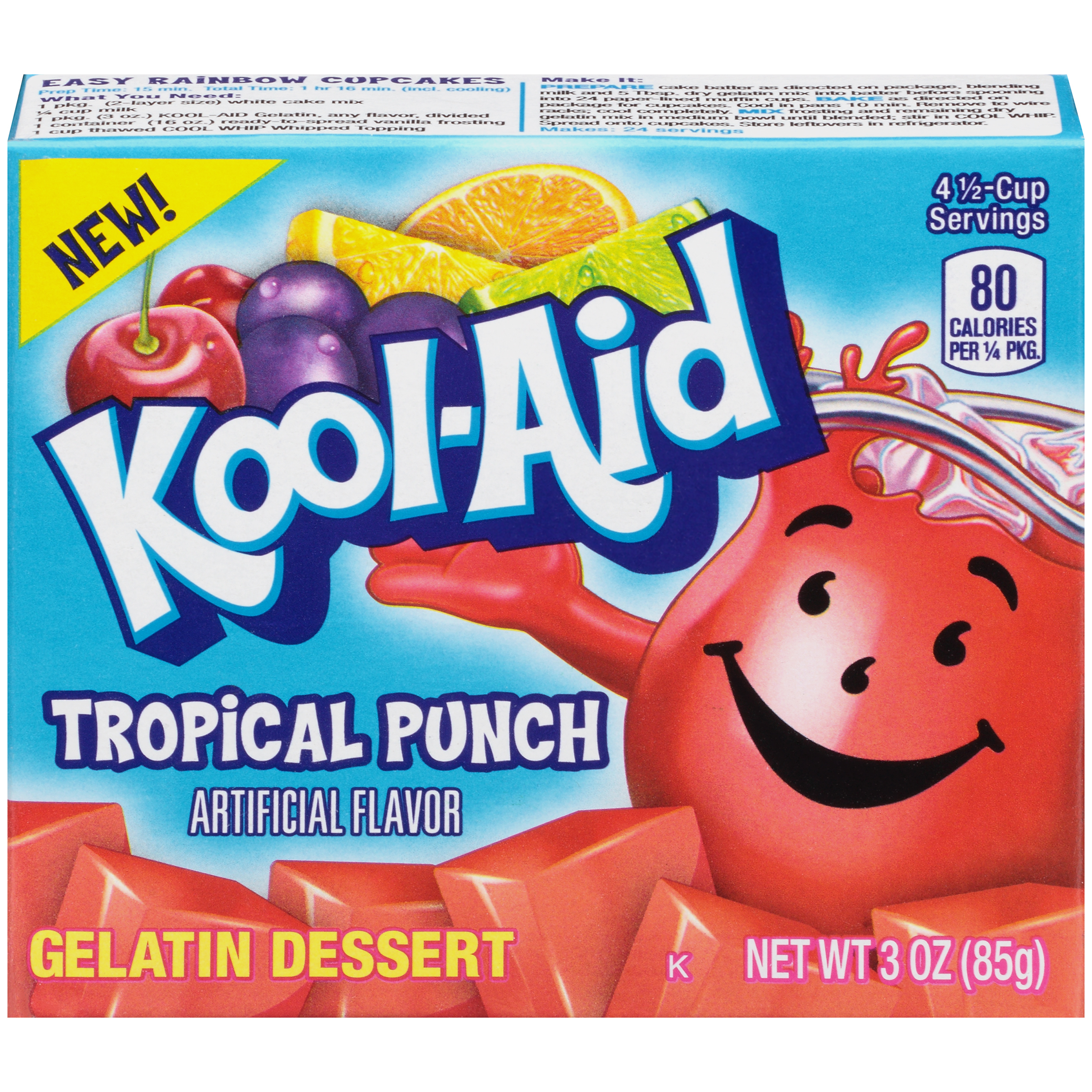 KOOL-AID GELATIN TROPICAL PUNCH 3 OZ BOX