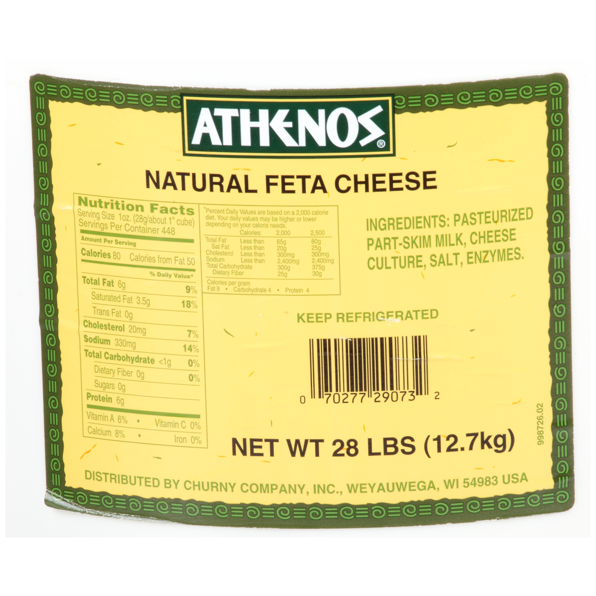 Athenos Traditional Feta Cheese 448 oz Bucket