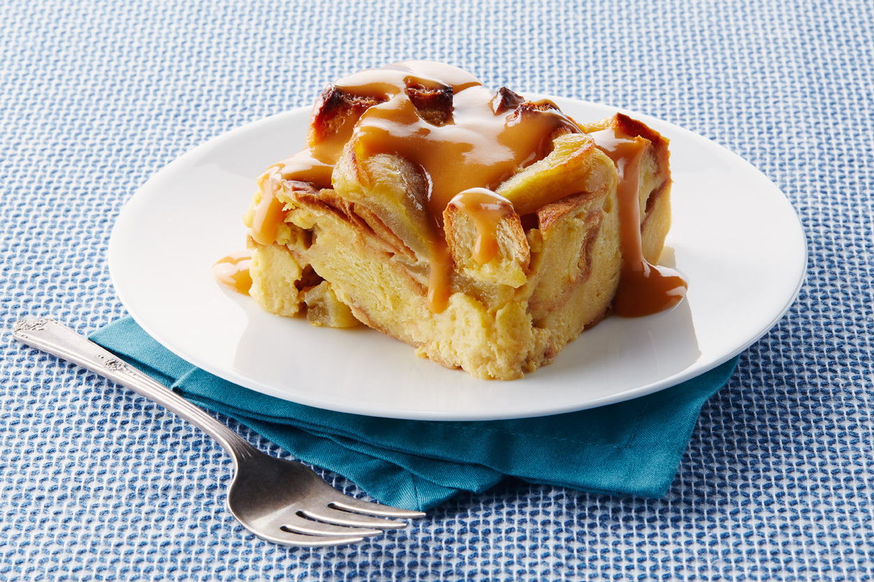 Slow-Cooker Apple Bread Pudding with Warm Butterscotch Sauce