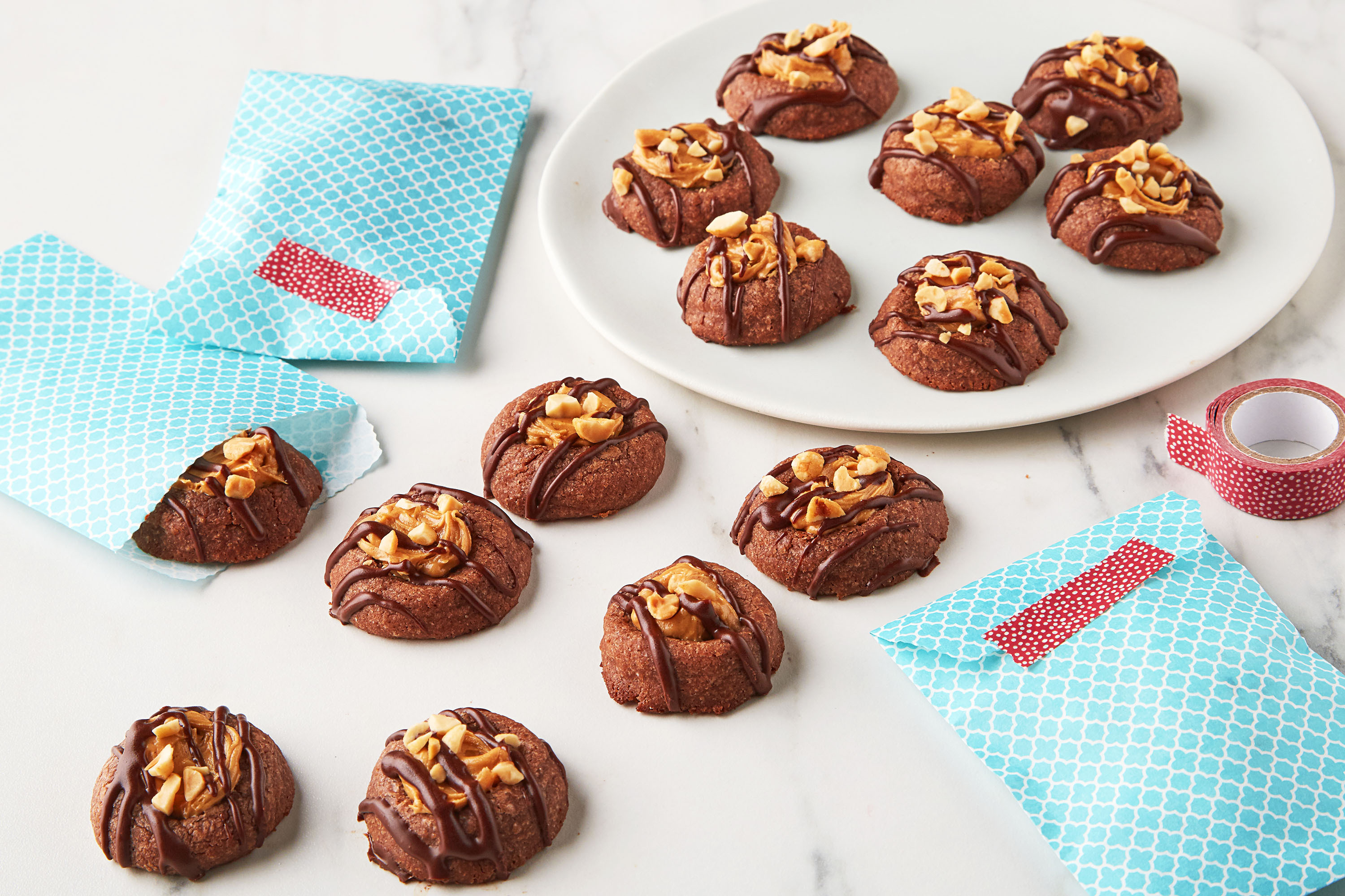 Brownie-Peanut Butter Thumbprint Cookies
