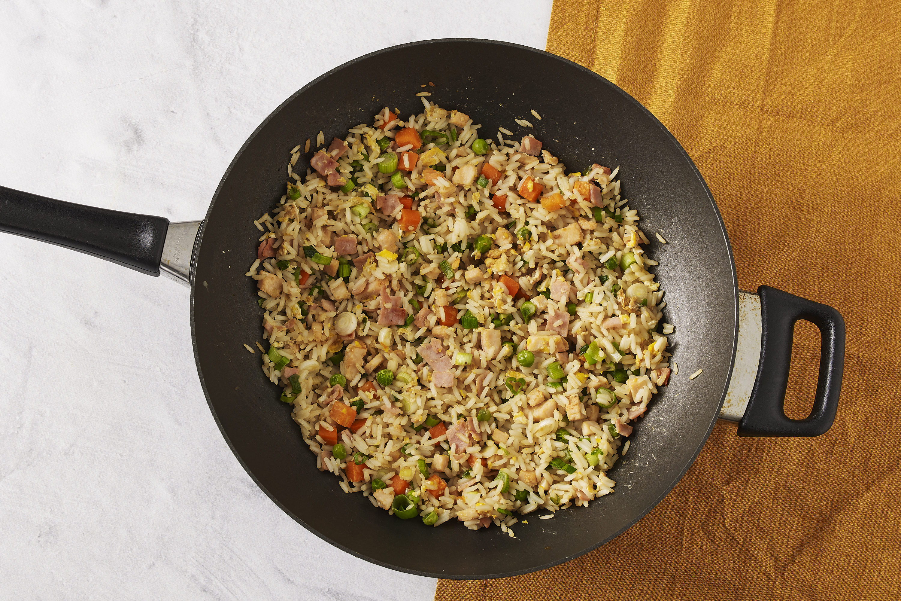 Fried Rice with Chicken and Ham