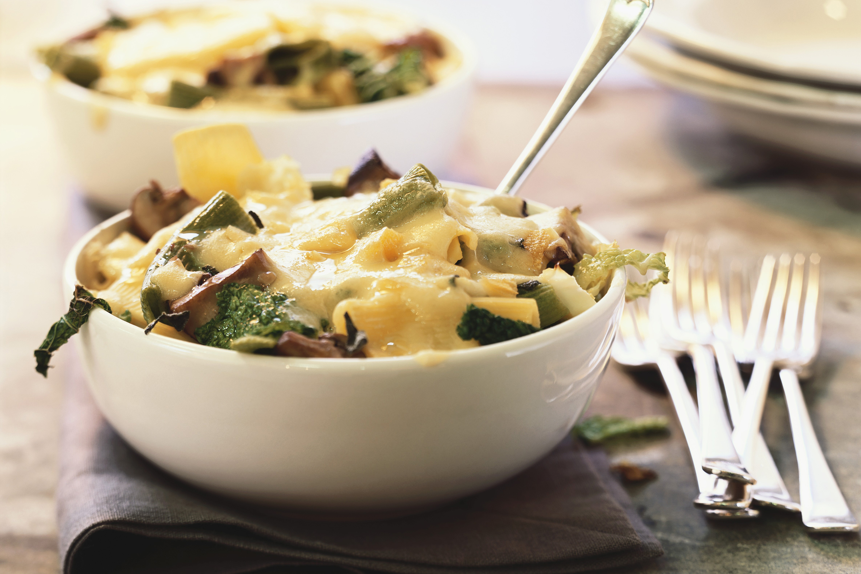 Pasta Bake with Cheese, Mushrooms and Kale