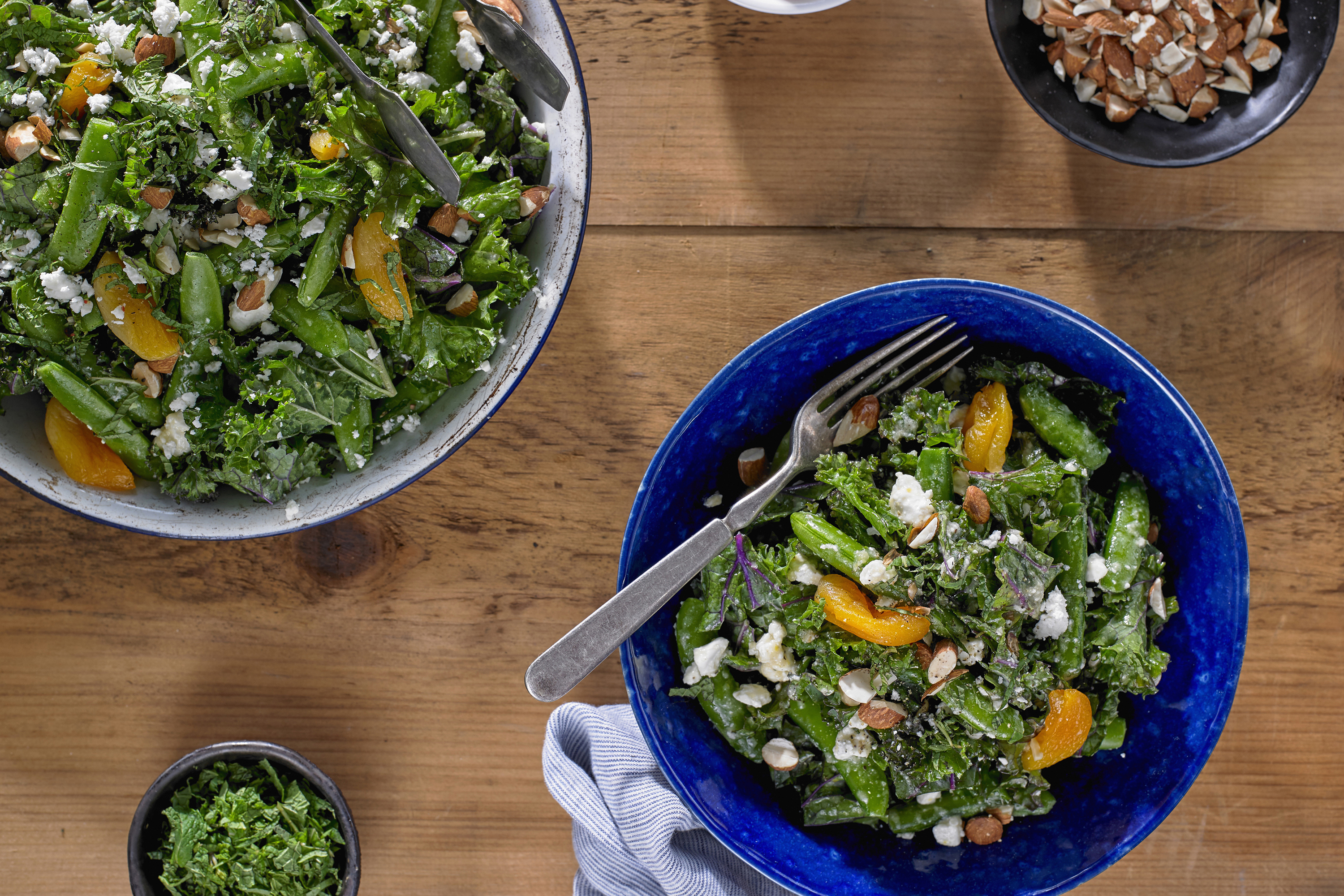 Kale and Sugar Snap Pea with Apricots and Feta Cheese Image 1