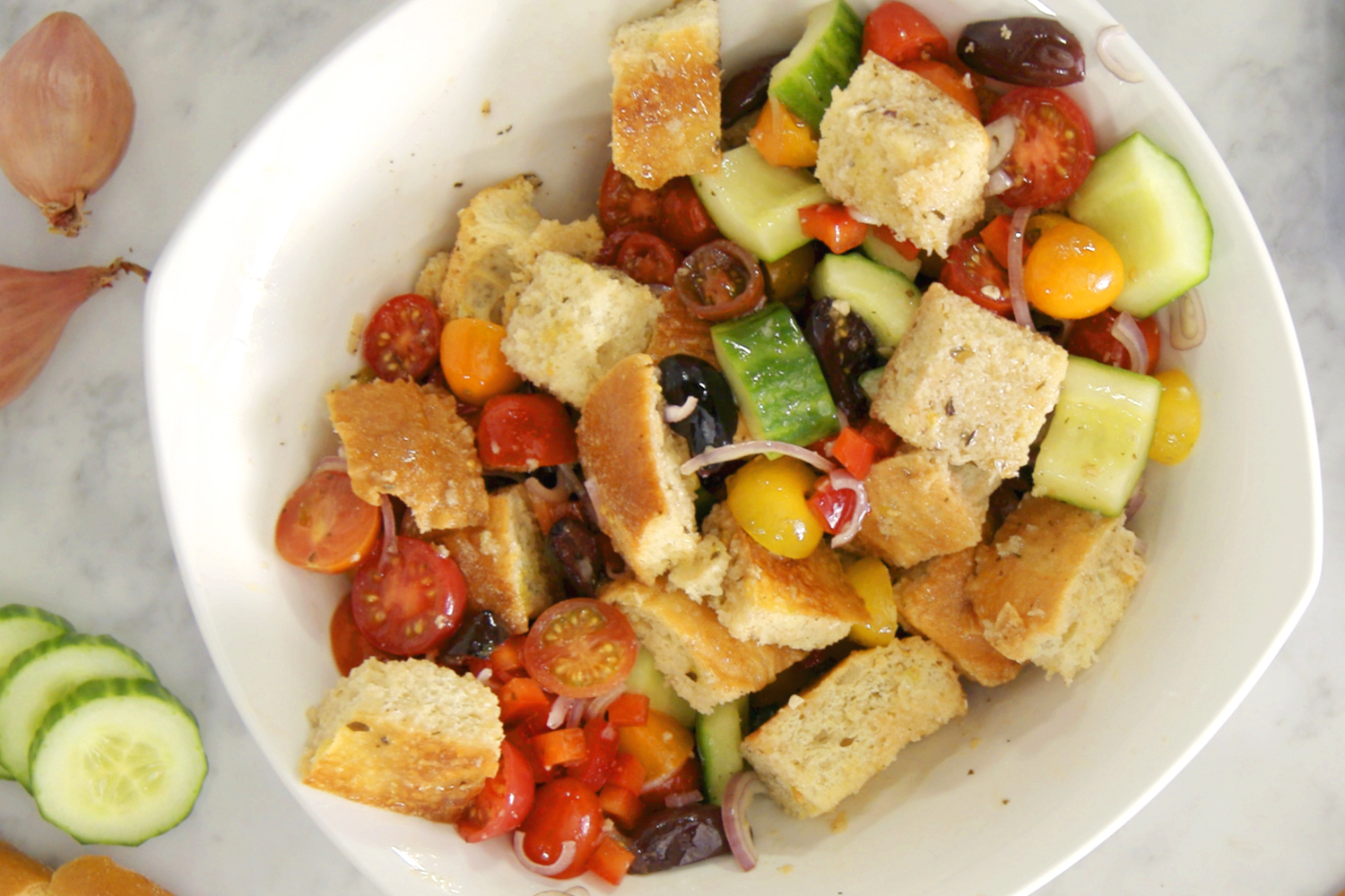 Potluck Greek Panzanella Salad with RENÉE'S Mediterranean Greek Vinaigrette  Image 1