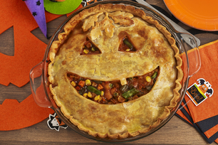Jack-o-Lantern BBQ Chicken Pot Pie