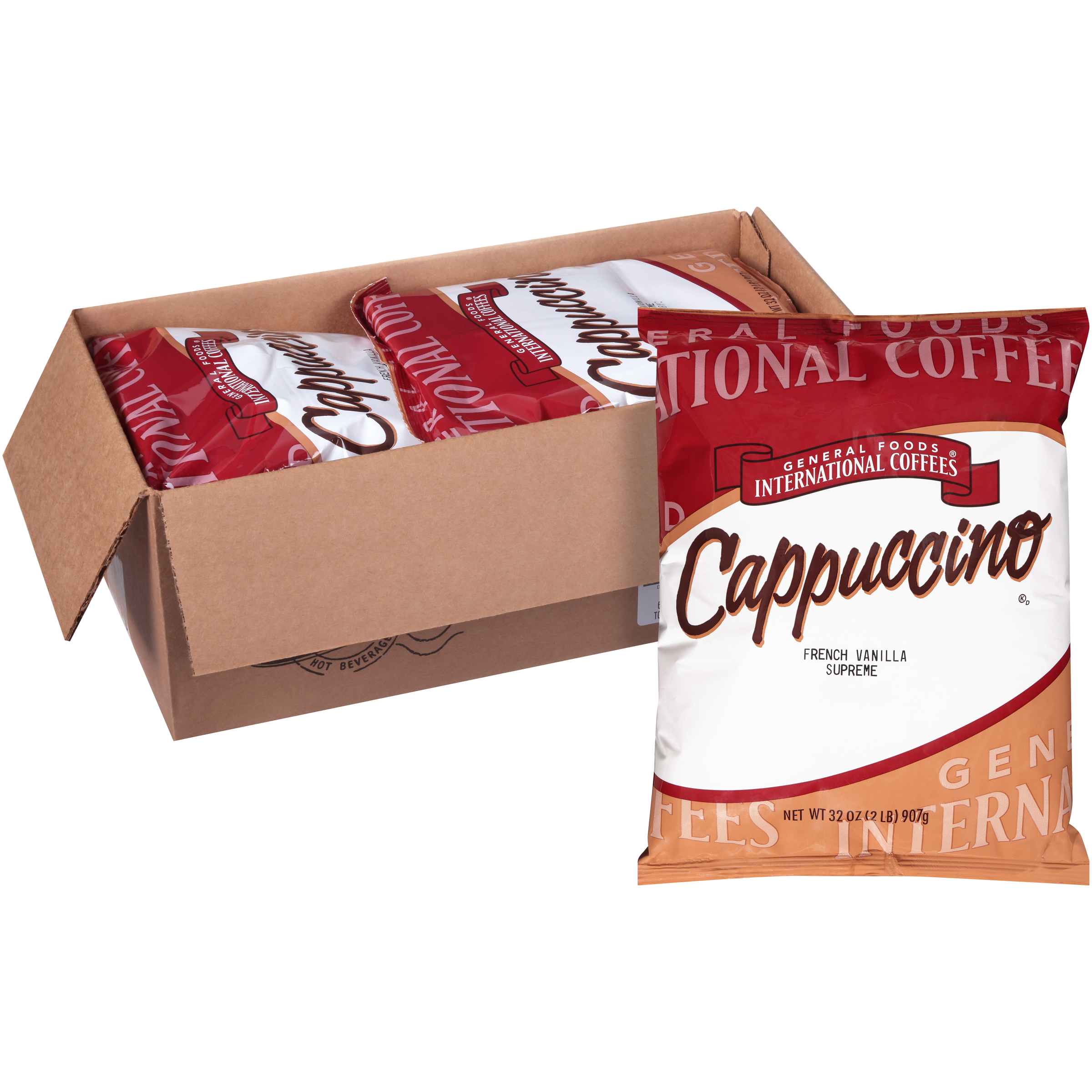 General Foods International Cafe French Vanilla Supreme Cappuccino Powder 2 Lb Container Pack Of 6 Kraft Heinz Foodservice