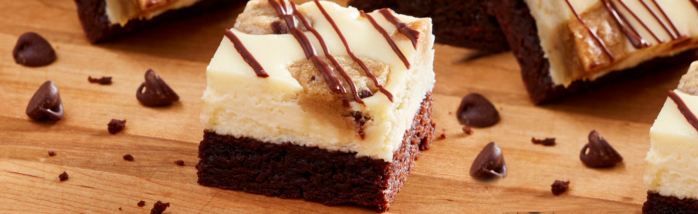 Brownie-Bottom Cookie Dough Cheesecake Bars